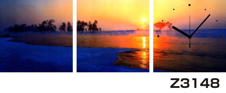 日本初!300種類以上のデザインから選ぶパネルクロック◆3枚のアートパネルの壁掛け時計◆hOur DesignZ3148夕焼け【海・空】【自然】【代引不可】 送料無料