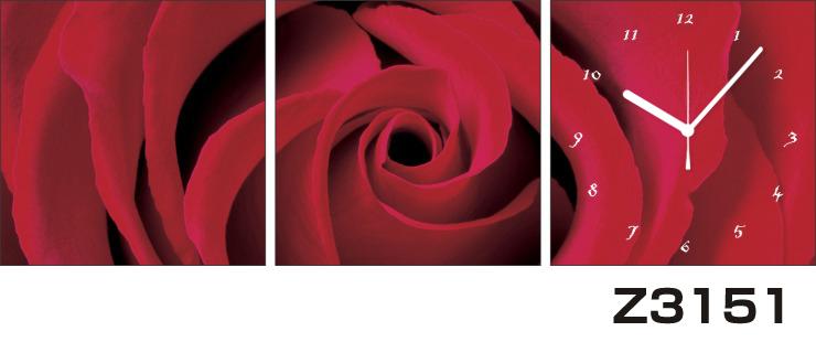 日本初!300種類以上のデザインから選ぶパネルクロック◆3枚のアートパネルの壁掛け時計◆hOur DesignZ3151薔薇【花】【代引不可】 送料無料