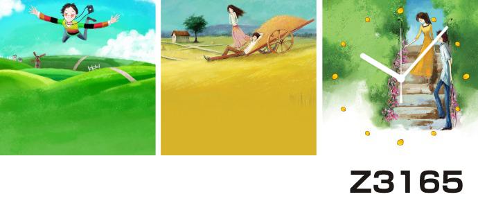 日本初!300種類以上のデザインから選ぶパネルクロック◆3枚のアートパネルの壁掛け時計◆hOur DesignZ3165女の子 男の子 【イラスト】【代引不可】 送料無料