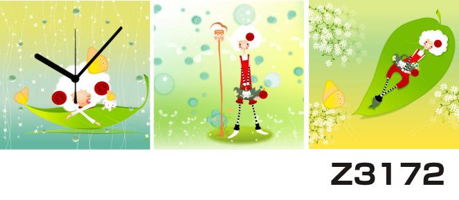 日本初!300種類以上のデザインから選ぶパネルクロック◆3枚のアートパネルの壁掛け時計◆hOur DesignZ3172女性【イラスト】【自然】【代引不可】 送料無料