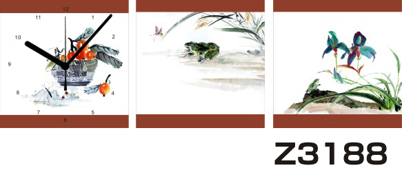日本初!300種類以上のデザインから選ぶパネルクロック◆3枚のアートパネルの壁掛け時計◆hOur DesignZ3188【アート】【花】【代引不可】 送料無料