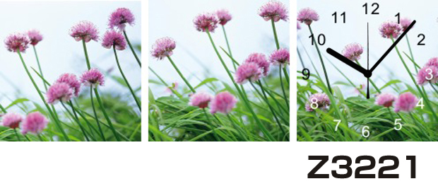日本初!300種類以上のデザインから選ぶパネルクロック◆3枚のアートパネルの壁掛け時計◆hOur DesignZ3221【花】【代引不可】 送料無料