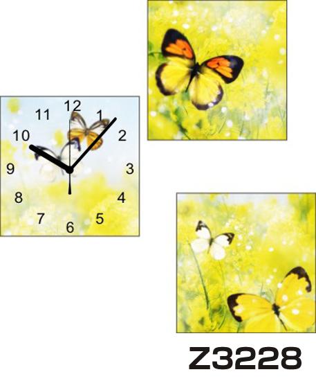 日本初!300種類以上のデザインから選ぶパネルクロック◆3枚のアートパネルの壁掛け時計◆hOur DesignZ3228蝶【イラスト】【アート】【花】【代引不可】 送料無料