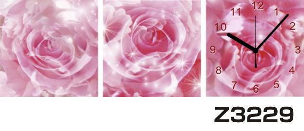 \クーポンで300円OFF★16日1:59まで★/ 日本初!300種類以上のデザインから選ぶパネルクロック◆3枚のアートパネルの壁掛け時計◆hOur DesignZ3229薔薇【花】【代引不可】 送料無料