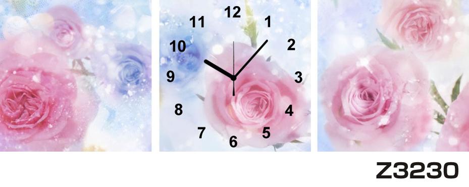 日本初!300種類以上のデザインから選ぶパネルクロック◆3枚のアートパネルの壁掛け時計◆hOur DesignZ3230薔薇【花】【代引不可】 送料無料