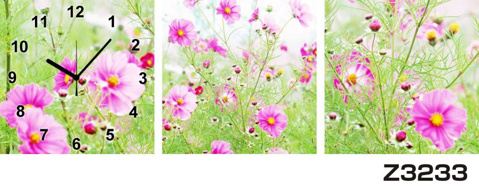 日本初!300種類以上のデザインから選ぶパネルクロック◆3枚のアートパネルの壁掛け時計◆hOur DesignZ3233【花】【代引不可】 送料無料