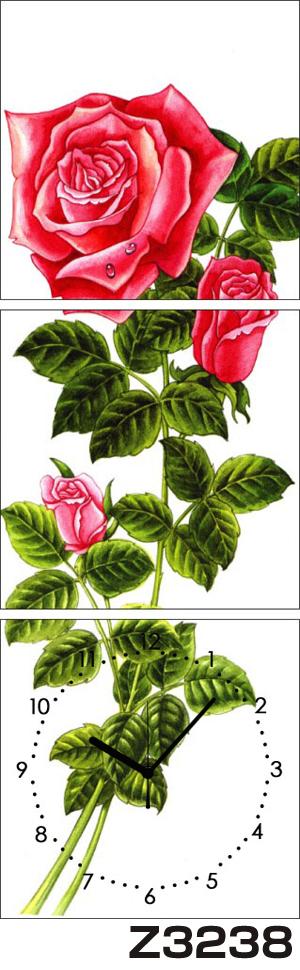 日本初!300種類以上のデザインから選ぶパネルクロック◆3枚のアートパネルの壁掛け時計◆hOur DesignZ3238薔薇【アート】【花】【代引不可】 送料無料