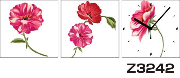 日本初!300種類以上のデザインから選ぶパネルクロック◆3枚のアートパネルの壁掛け時計◆hOur DesignZ3242【イラスト】【アート】【花】【代引不可】 送料無料