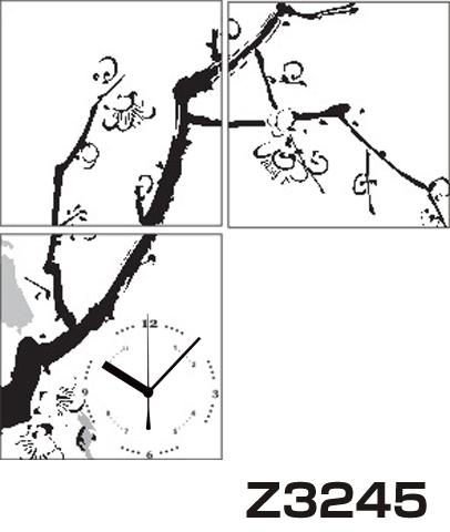 日本初!300種類以上のデザインから選ぶパネルクロック◆3枚のアートパネルの壁掛け時計◆hOur DesignZ3245水墨【アート】【アジア】【代引不可】 送料無料