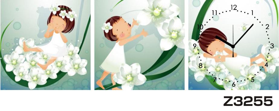 日本初!300種類以上のデザインから選ぶパネルクロック◆3枚のアートパネルの壁掛け時計◆hOur DesignZ3255女の子【イラスト】【花】【代引不可】 送料無料