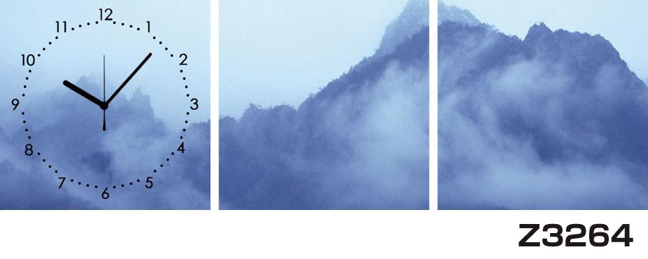 日本初!300種類以上のデザインから選ぶパネルクロック◆3枚のアートパネルの壁掛け時計◆hOur DesignZ3264山【アート】【風景】【海・空】【自然】【代引不可】 送料無料