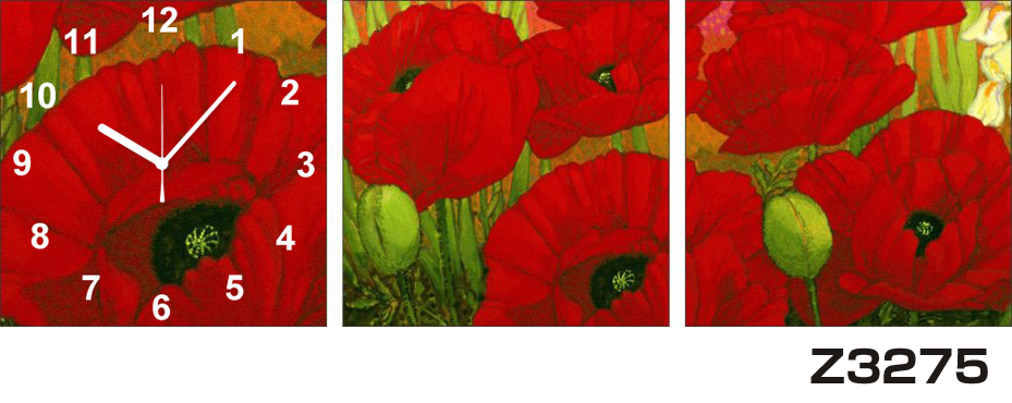 日本初!300種類以上のデザインから選ぶパネルクロック◆3枚のアートパネルの壁掛け時計◆hOur DesignZ3275【アート】【花】【代引不可】 送料無料