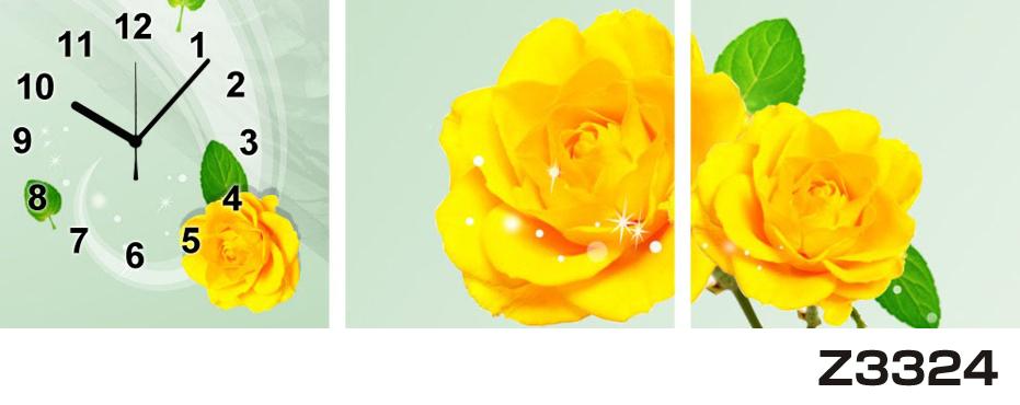 日本初!300種類以上のデザインから選ぶパネルクロック◆3枚のアートパネルの壁掛け時計◆hOur DesignZ3324薔薇【花】【代引不可】 送料無料