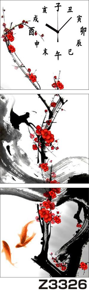 日本初!300種類以上のデザインから選ぶパネルクロック◆3枚のアートパネルの壁掛け時計◆hOur DesignZ3326梅 水墨【アート】【アジア】【代引不可】[byおすすめ] 送料無料
