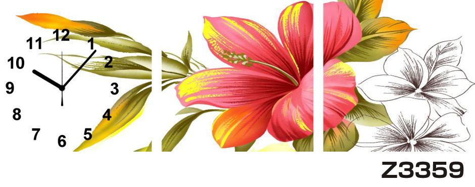 日本初!300種類以上のデザインから選ぶパネルクロック◆3枚のアートパネルの壁掛け時計◆hOur DesignZ3359【アート】【花】【代引不可】 送料無料