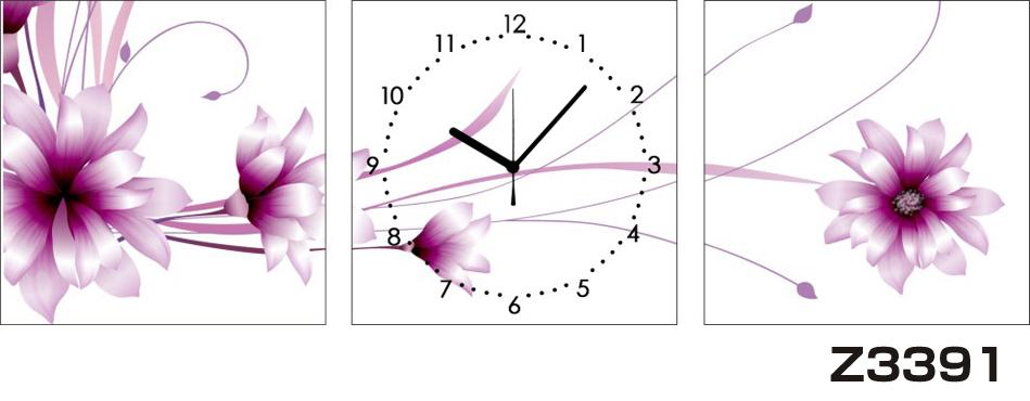 日本初!300種類以上のデザインから選ぶパネルクロック◆3枚のアートパネルの壁掛け時計◆hOur DesignZ3391【アート】【花】【代引不可】 送料無料