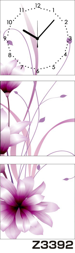 日本初!300種類以上のデザインから選ぶパネルクロック◆3枚のアートパネルの壁掛け時計◆hOur DesignZ3392【アート】【花】【代引不可】 送料無料
