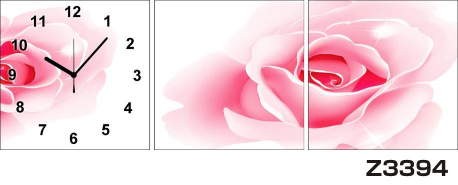 日本初!300種類以上のデザインから選ぶパネルクロック◆3枚のアートパネルの壁掛け時計◆hOur DesignZ3394薔薇【アート】【花】【代引不可】 送料無料