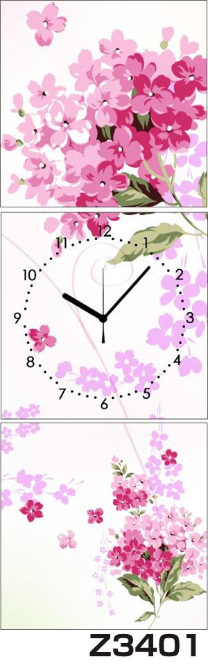 日本初!300種類以上のデザインから選ぶパネルクロック◆3枚のアートパネルの壁掛け時計◆hOur DesignZ3401【アート】【花】【代引不可】 送料無料
