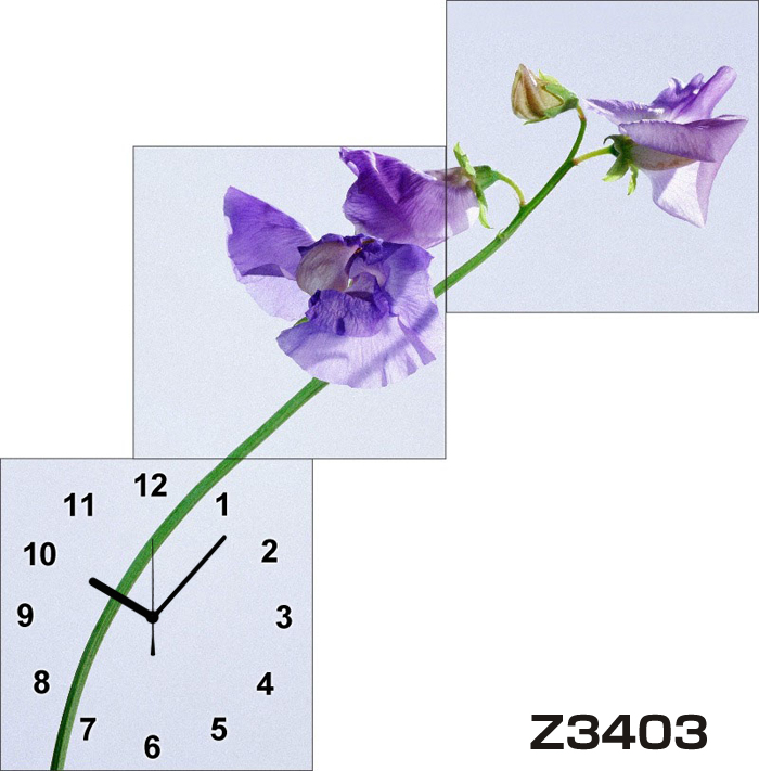 日本初!300種類以上のデザインから選ぶパネルクロック◆3枚のアートパネルの壁掛け時計◆hOur DesignZ3403【花】【代引不可】 送料無料