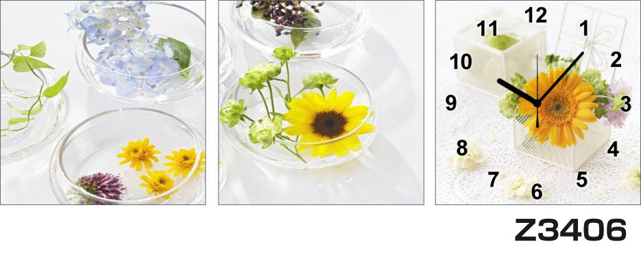 日本初!300種類以上のデザインから選ぶパネルクロック◆3枚のアートパネルの壁掛け時計◆hOur DesignZ3406【花】【代引不可】 送料無料