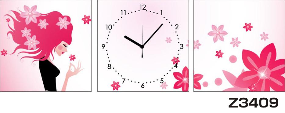 日本初!300種類以上のデザインから選ぶパネルクロック◆3枚のアートパネルの壁掛け時計◆hOur DesignZ3409女性【アート】【花】【代引不可】 送料無料