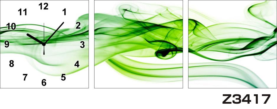 \クーポンで300円OFF★16日1:59まで★/ 日本初!300種類以上のデザインから選ぶパネルクロック◆3枚のアートパネルの壁掛け時計◆hOur DesignZ3417緑【アート】【代引不可】 送料無料