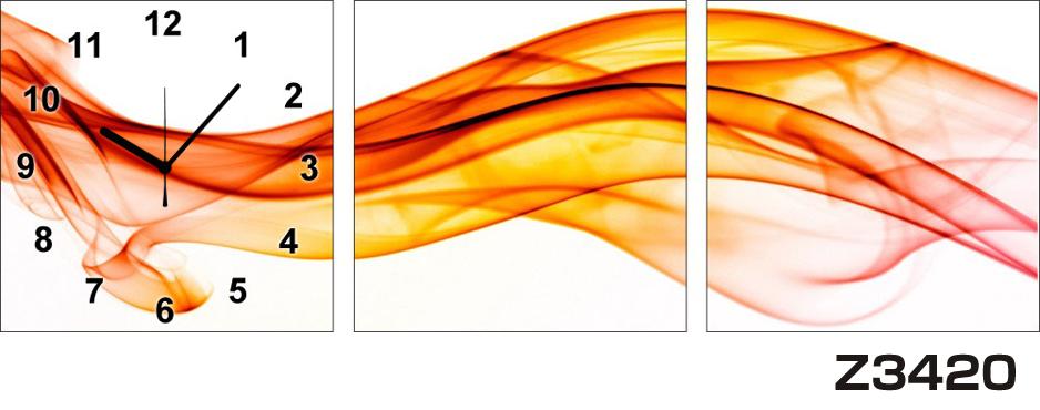 日本初!300種類以上のデザインから選ぶパネルクロック◆3枚のアートパネルの壁掛け時計◆hOur DesignZ3420オレンジ【アート】【代引不可】 送料無料