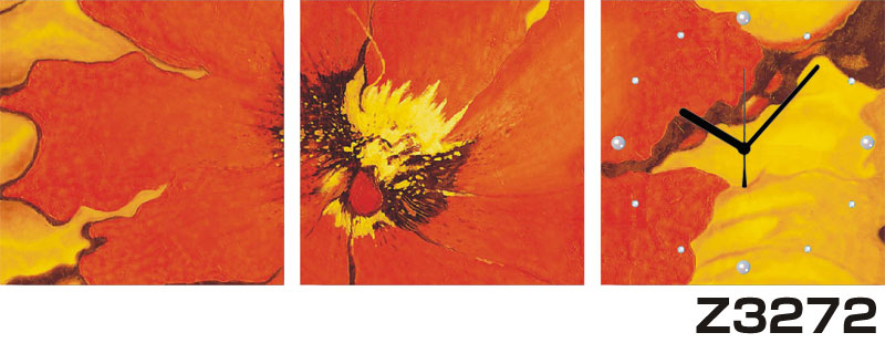 日本初!300種類以上のデザインから選ぶパネルクロック◆3枚のアートパネルの壁掛け時計◆hOur DesignZ3272【花】【代引不可】 送料無料