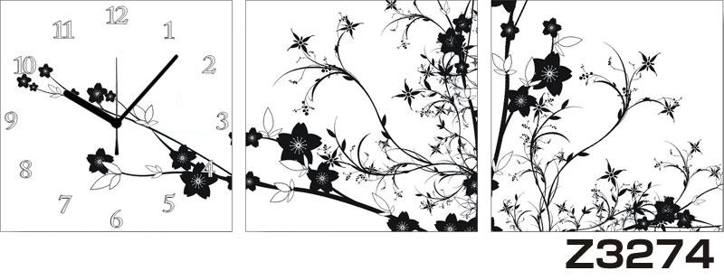 日本初!300種類以上のデザインから選ぶパネルクロック◆3枚のアートパネルの壁掛け時計◆hOur DesignZ3274【花】【代引不可】 送料無料