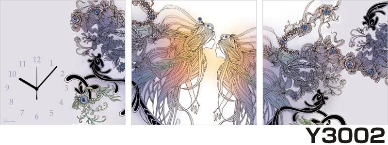 アジアデジタルアート大賞入賞者がデザインしたパネルクロック◆3枚のアートパネルの壁掛け時計◆hOur Design Y3002【Kaori Adachi】【安達香織】【代引不可】 送料無料