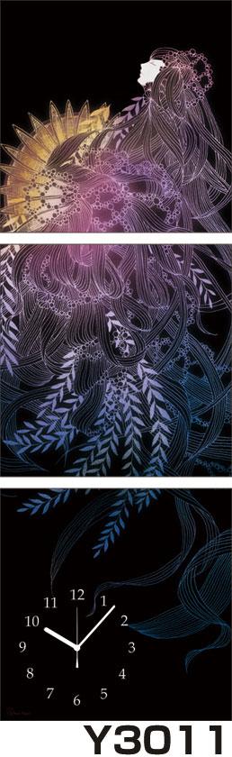 アジアデジタルアート大賞入賞者がデザインしたパネルクロック◆3枚のアートパネルの壁掛け時計◆hOur Design Y3011【Kaori Adachi】【安達香織】【代引不可】 送料無料
