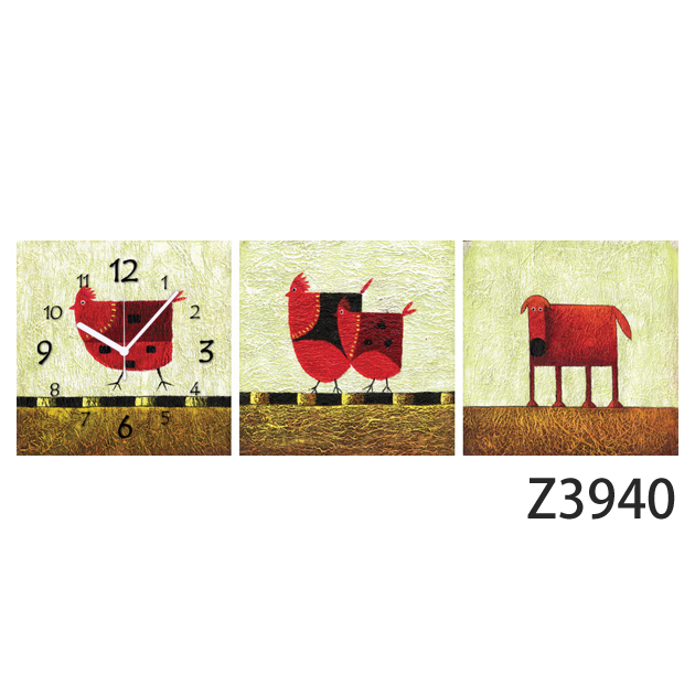壁掛け時計 日本初!300種類以上のデザインから選ぶパネルクロック◆3枚のアートパネルの壁掛け時計◆hOur Design Z3940【イラスト】【代引不可】 送料無料