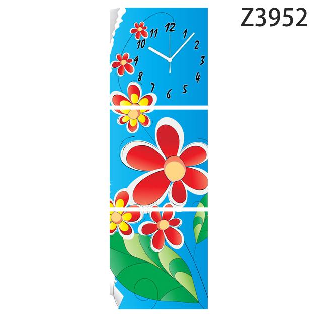 壁掛け時計 日本初!300種類以上のデザインから選ぶパネルクロック◆3枚のアートパネルの壁掛け時計◆hOur Design Z3952 【花】【イラスト】【代引不可】 送料無料