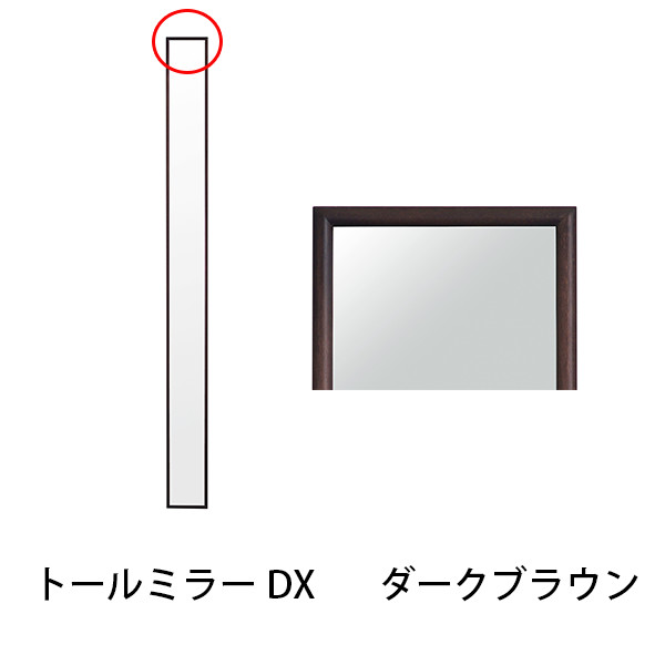 トールミラーDX ダークブラウン 幅13cm 壁掛け 鏡 全身 木製フレーム 姿見 ロング おしゃれ ポプラ材