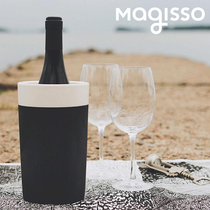 北欧デザイン雑貨 magisso ワインクーラー ホワイトライン 冷却機能 陶磁器 セラミック モノクローム ワイン用品 ワイングッズ キッチンインテリア シンプル 北欧デザイン
