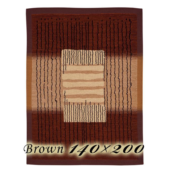 ラグ カーペット ジェレミ 140×200cm ブラウン イタリア製 ゴブラン織 高級 絨毯 厚手 【送料無料】【代引不可】