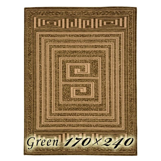 ラグ カーペット モイラ 170×240cm グリーン イタリア製 ゴブラン織 高級 絨毯 厚手 【送料無料】【代引不可】