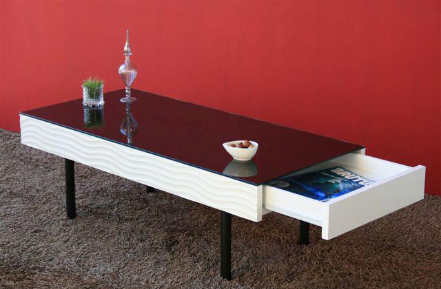 【送料無料】幅105cm・引出し付 リビングテーブルシュール ホワイトの波型デザインとブラックの天板がアクセント 収納付きで便利なセンターテーブル ローテーブル コーヒーテーブル ガラス製