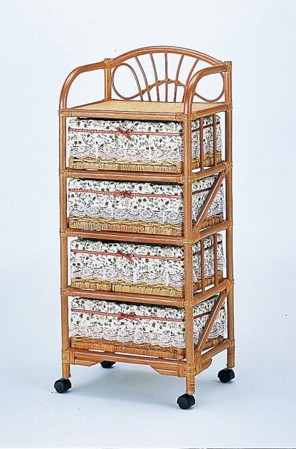部屋を選ばない、シンプルなデザイン ランドリー4段 収納家具 ランドリーチェスト ランドリーラック 籐製 ラタン 送料無料