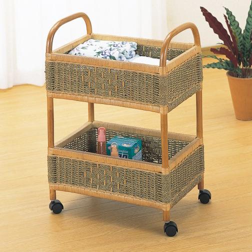 水回りの仕様に配慮した快適な素材とデザイン ランドリー 収納家具 ランドリーワゴン ランドリーラック 籐製 ラタン