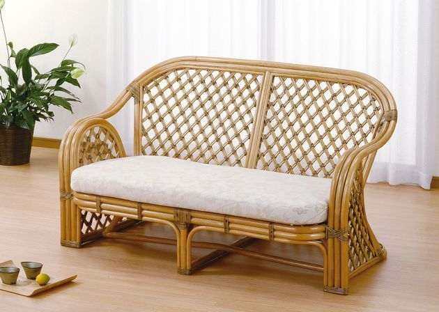 2 Seat Sofa Two Seat Sofa Asian Japanese Style Rattan Round Core With Cloth  Upholstery, Beautifully Refined Design Is Fashionable. Love Chair Wicker  Rattan ...