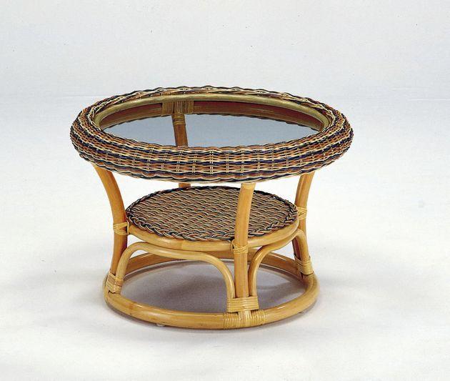 テーブル 座卓 リビングテーブル センターテーブル ガラス天板 棚付 籐製 ラタン 送料無料