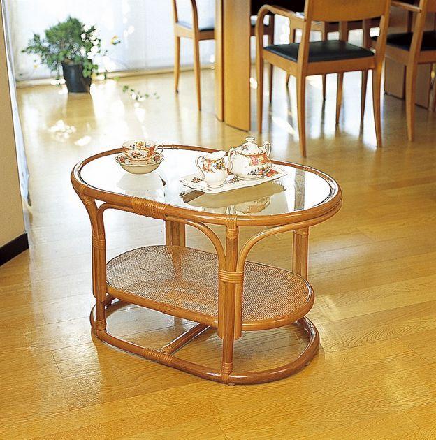 シンプルで丸みのあるデザインなので優しく安全です。 テーブル 籐製 ラタン 送料無料