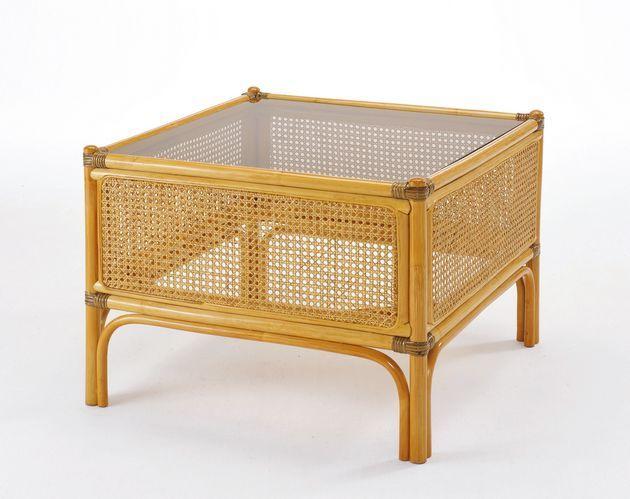 籐カゴメ編みの透け具合が美しいスクエアーテーブル。 籐テーブル 籐製 ラタン 送料無料