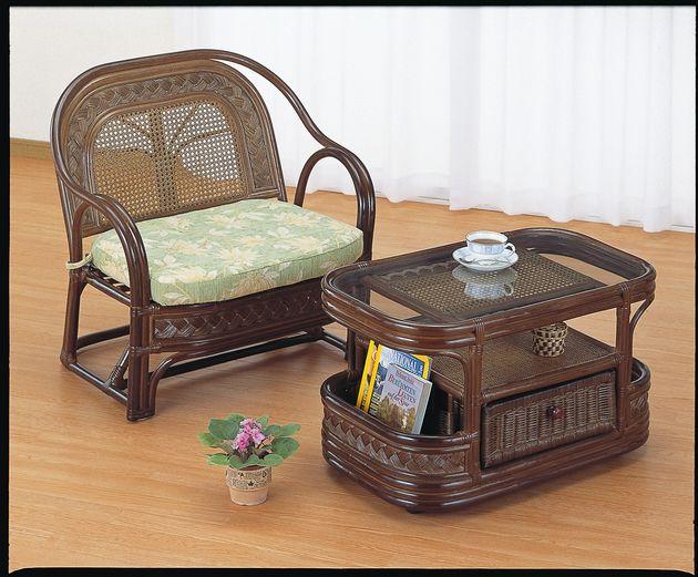 ラタン編みの表情が優しくて温かい。 テーブル 籐製 送料無料