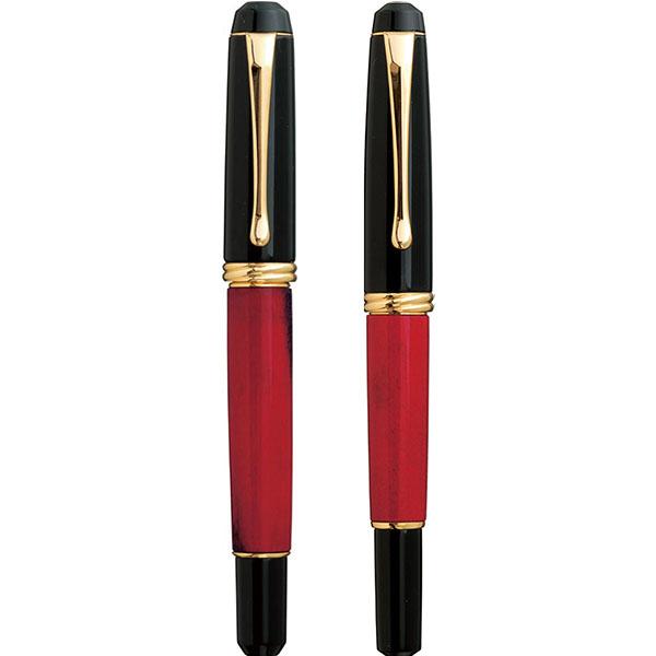 【お取り寄せ】くれ竹(Kuretake) 夢銀河 鹿角 古代日本茜染め 万年毛筆&万年筆 セット