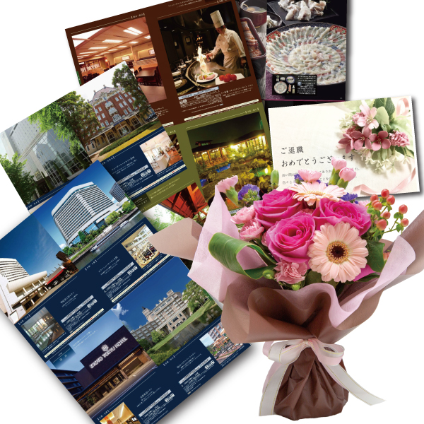 結婚祝い 誕生日 プレゼント 母 退職 お祝い 両親 お母さん 結婚 記念日 周年 生花ピンク 花束 と カタログギフト セットグルメ ブランド品 雑貨 B-COO (SE)