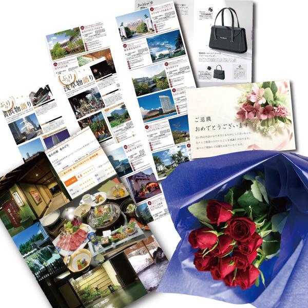 還暦祝い 誕生日 プレゼント 結婚祝い 退職 お祝い 父 母 結婚記念日 10周年 生花レッド バラ 花束とカタログギフトセットグルメ・ブランド品 雑貨 B-VOO (SE)