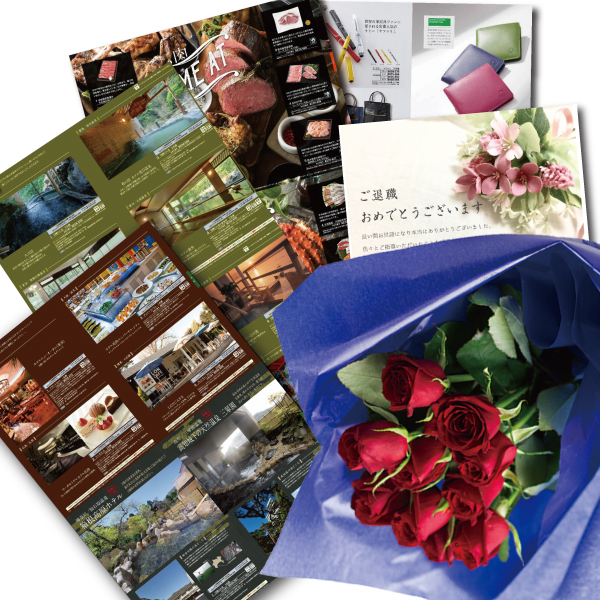 還暦祝い 誕生日 プレゼント 結婚祝い 退職 お祝い 父 母 結婚記念日 10周年 生花レッド バラ 花束とカタログギフトセットグルメ・ブランド品 雑貨 B-DO (SE)